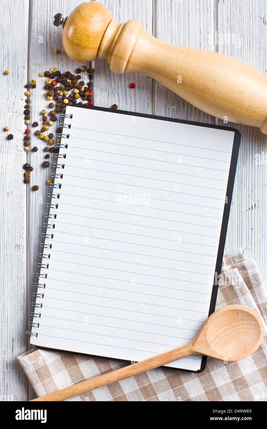 the recipe book with pepper spice - Stock Image