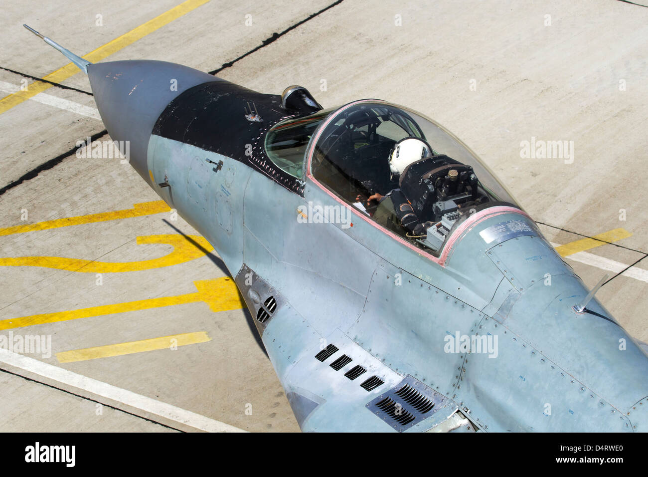 Top view of the cockpit on a Bulgarian Air Force MiG-29 jet fighter