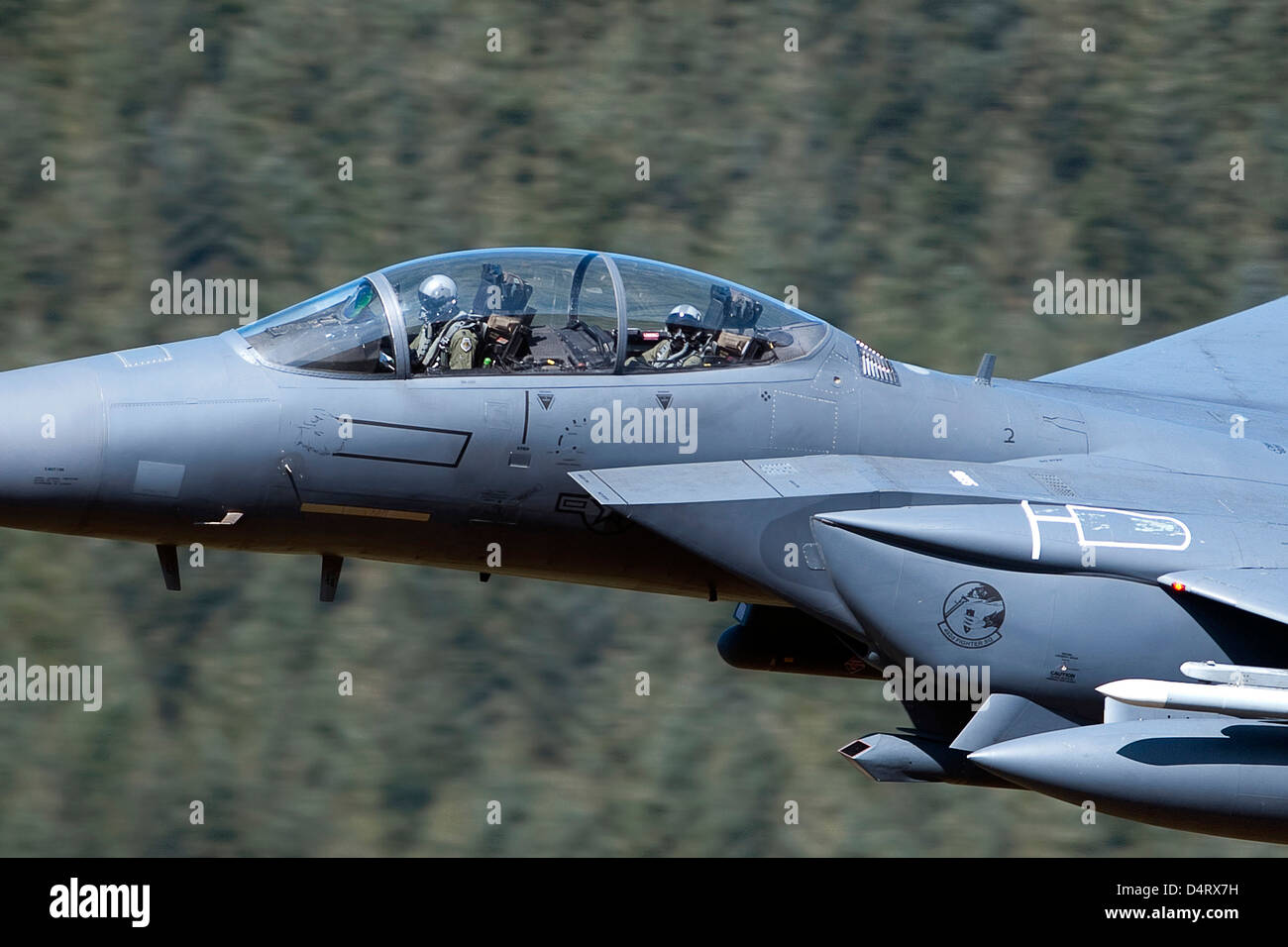 F-15E Strike Eagle low flying over Wales, United Kingdom. Stock Photo