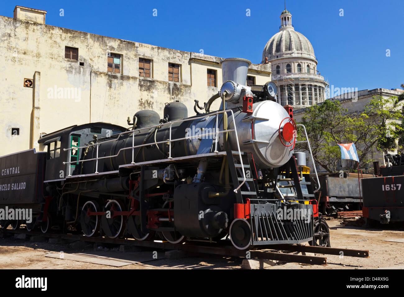 Old Locomotive being Repaired for Museum in Havana Cuba - Stock Image