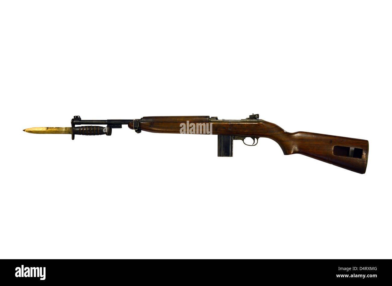 Semi-automatic M1 Carbine, a standard firearm for the U.S. military in the World War II era. - Stock Image