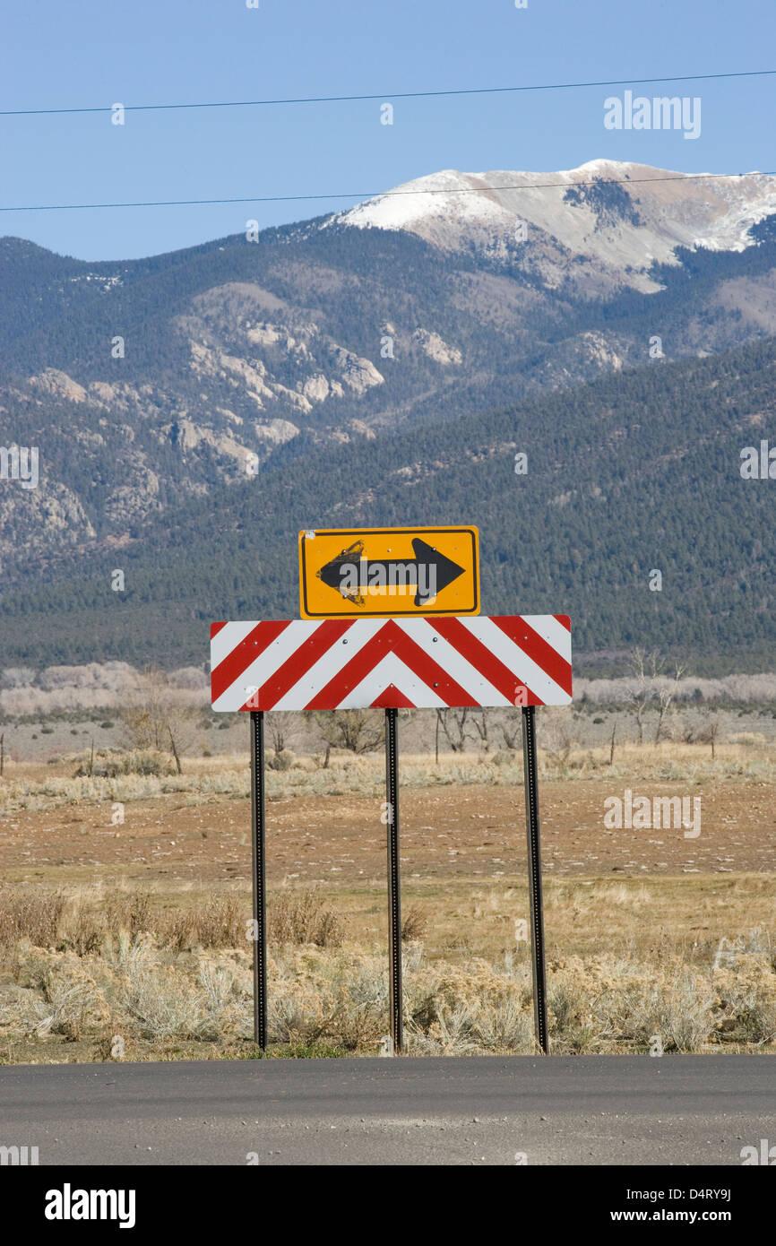 New Mexico: Taos - roadsign - Stock Image