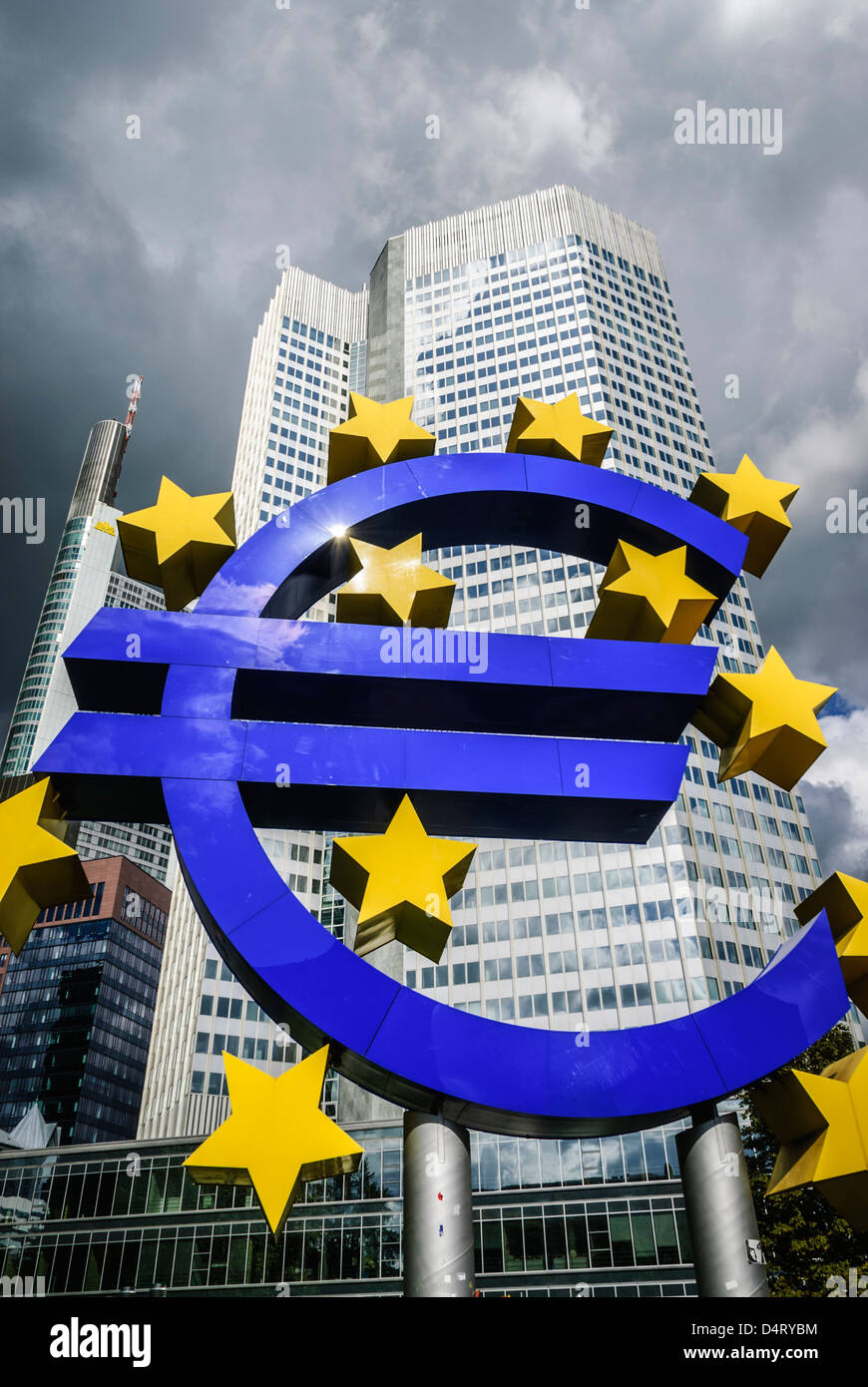 Euro symbol in front of the European Central Bank, Frankfurt, Germany, Europe - Stock Image