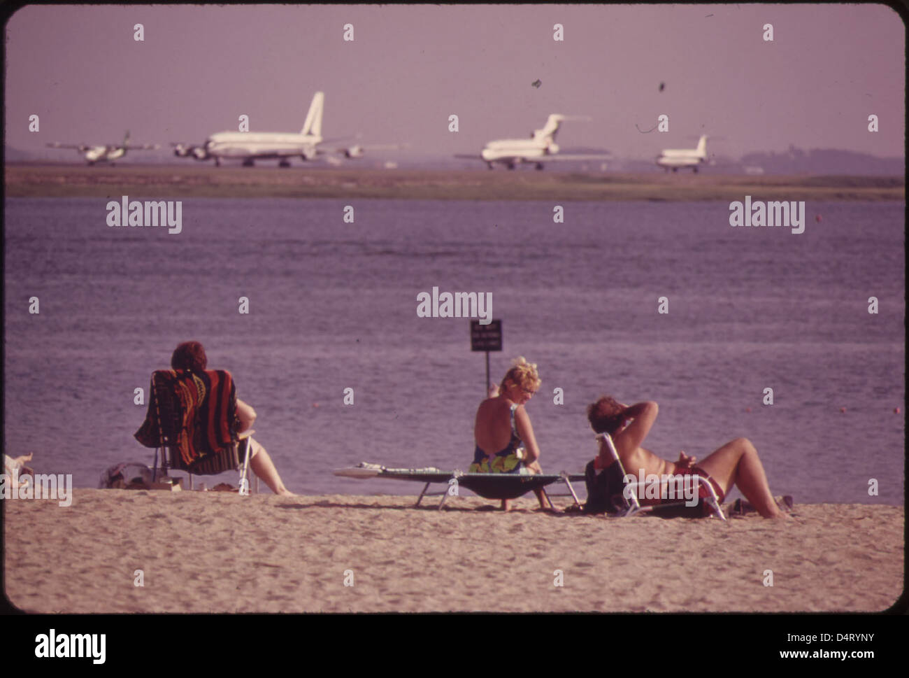 Constitution Beach - Within Sight and Sound of Logan Airport's Takeoff Runway 22r Stock Photo