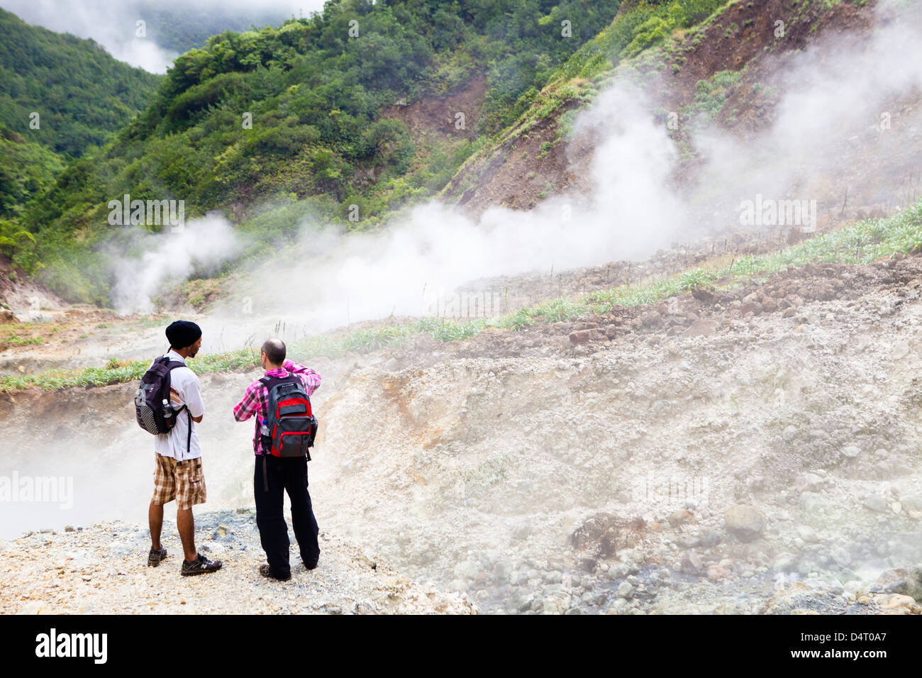 The Valley of Desolation - sulphurous fumaroles on the Boiling Lake hike in Dominica Stock Photo