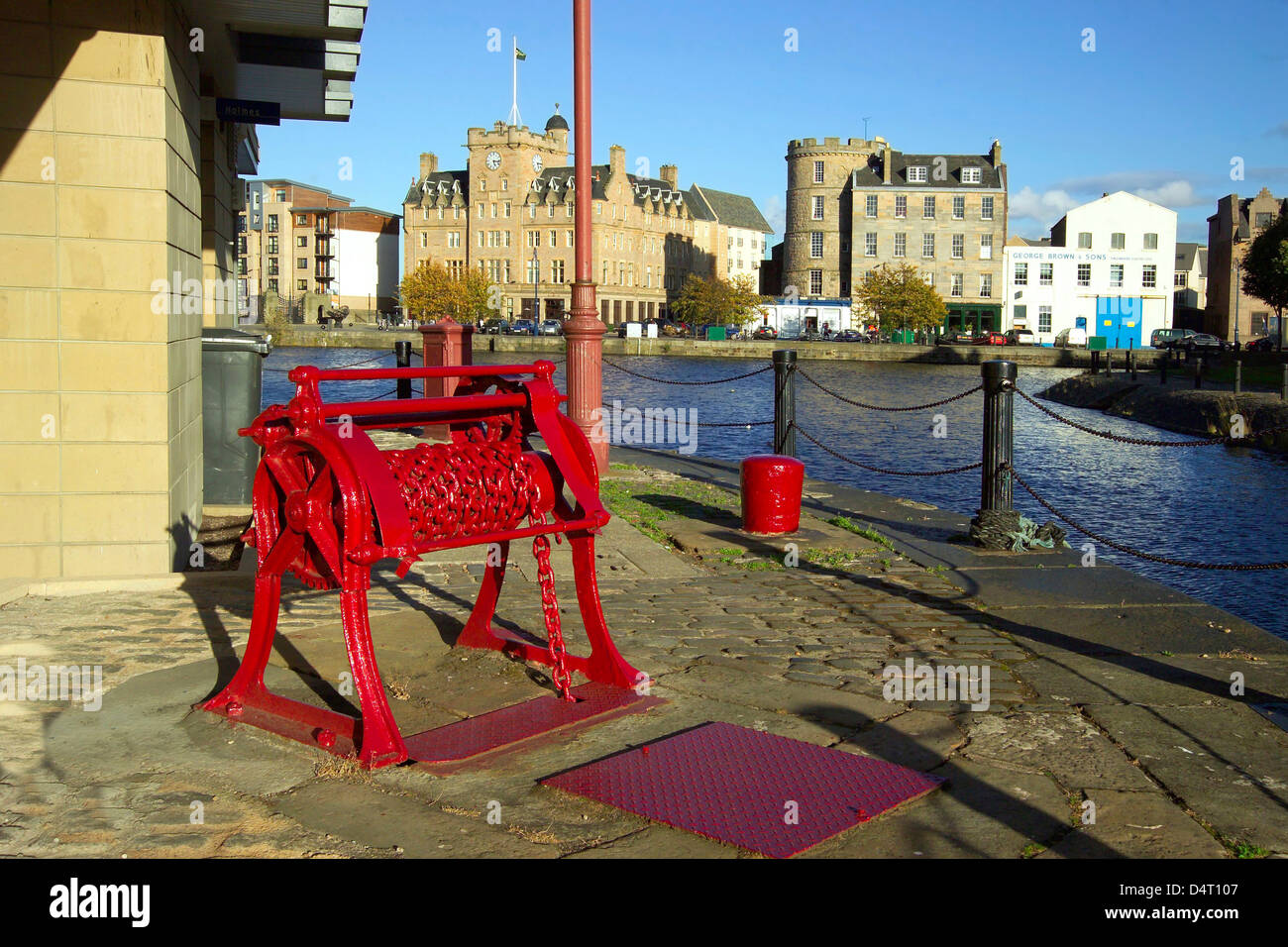 leith waterfront with red restored winch - Stock Image