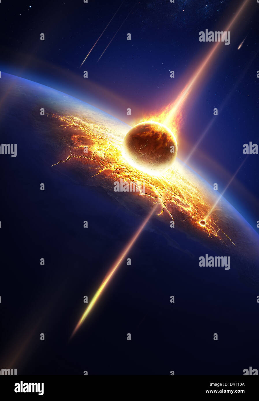 Earth in a meteor shower (Elements of this image furnished by NASA- earthmap for render from http://visibleearth.nasa.gov) - Stock Image
