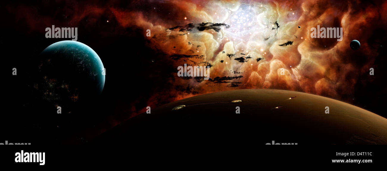 Artist's concept showing the view from a busy planetary system to a nearby stellar nursery. - Stock Image