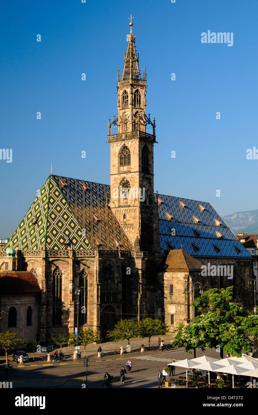 Bolzano Cathedral in Bolzano Italy, Walther Square - Stock Image