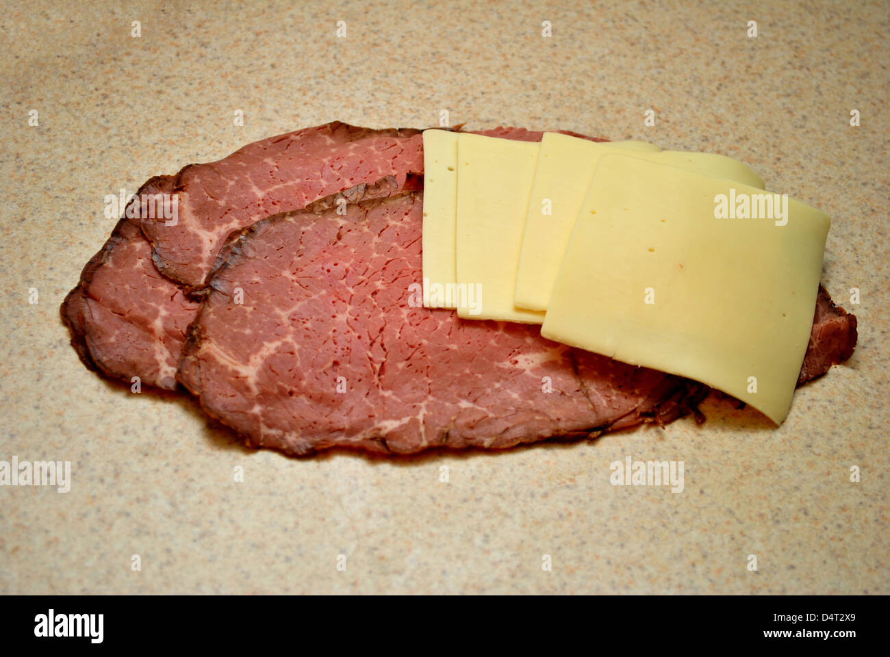 Cheese and Meat Slices - Stock Image