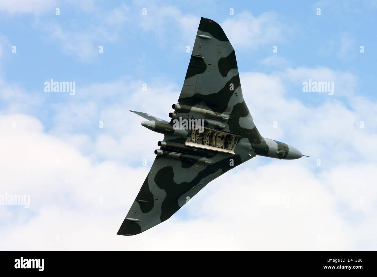 Vulcan Bomber XH558 performing at a display at Sywell Aerodrome, Northamptonshire - Stock Image