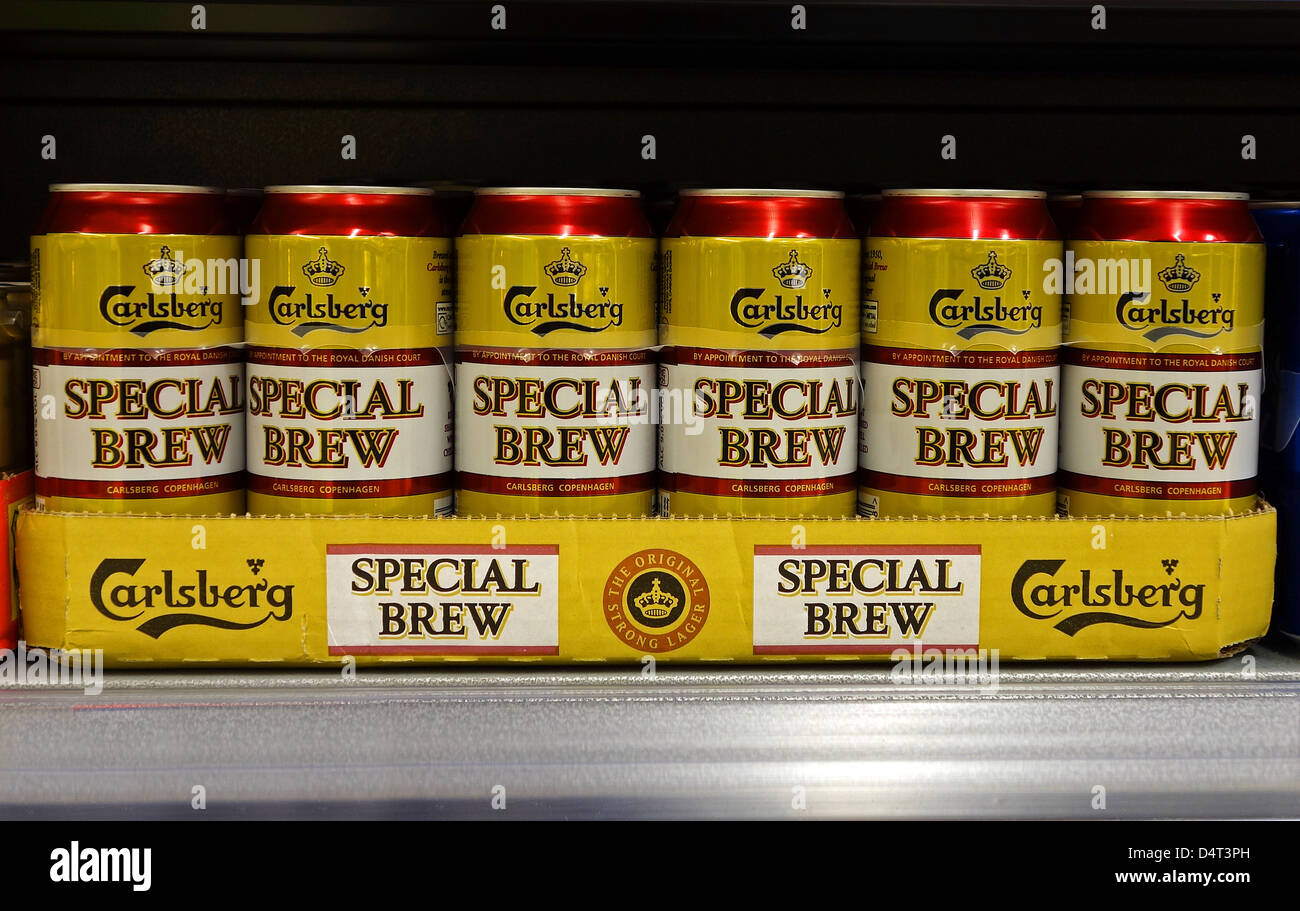 Cans of Carlsberg Special Brew - Stock Image