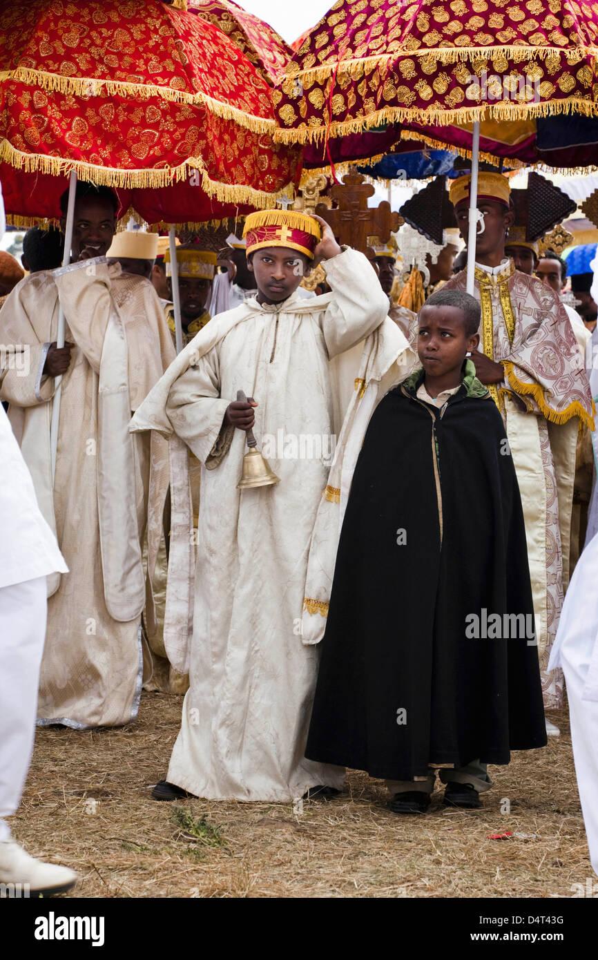 Timkat ceremony of the orthodox church in Addis Ababa, Ethiopia Stock Photo