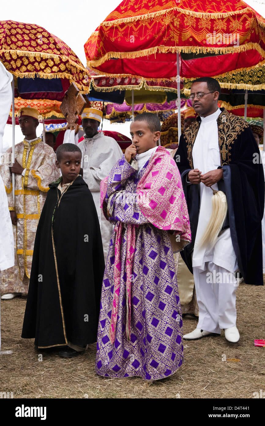 Timkat ceremony of the orthodox church in Addis Ababa, Ethiopia - Stock Image