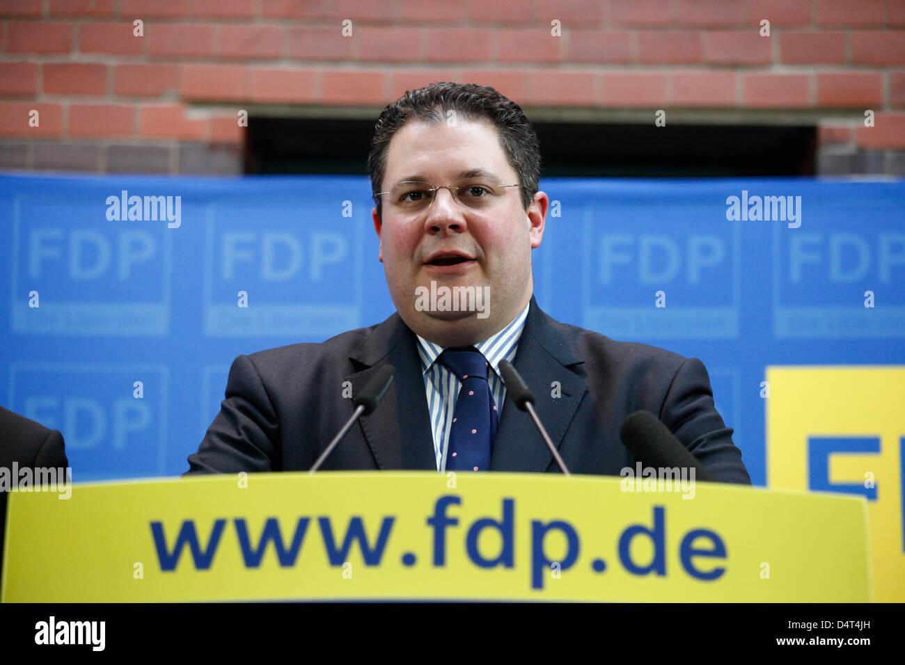FDP-General secretary Patrick Döring  during a press conference.Berlin, 18. Maerz 2013. Pressekonferenz der FDP Stock Photo