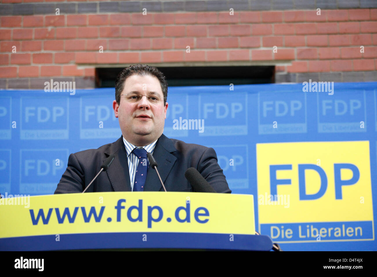 FDP-General secretary Patrick Döring  during a press conference.Berlin, 18. Maerz 2013. Pressekonferenz der FDP Stock Photo