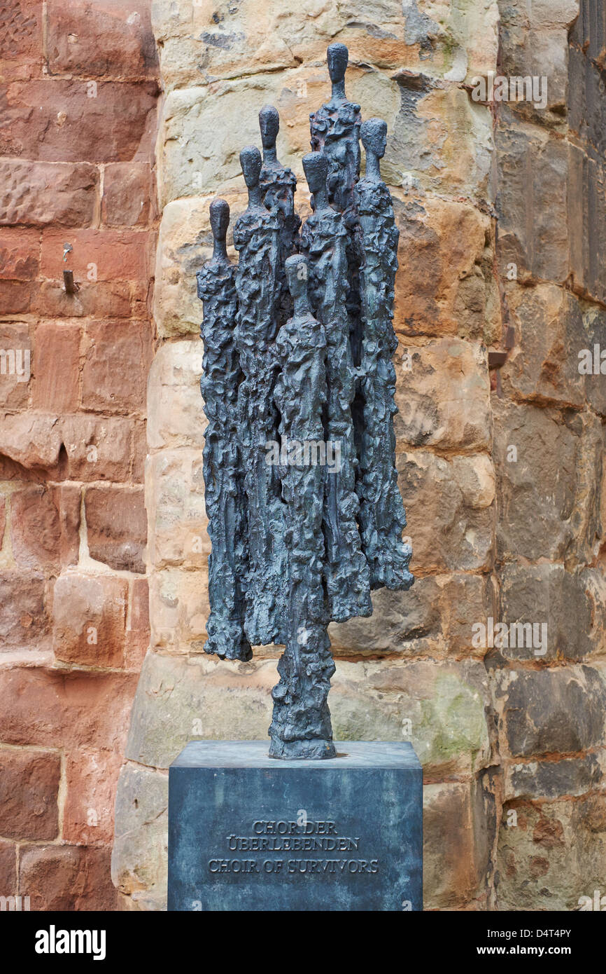 Choir of Survivors statue Cathedral Church of St Michael Coventry UK - Stock Image