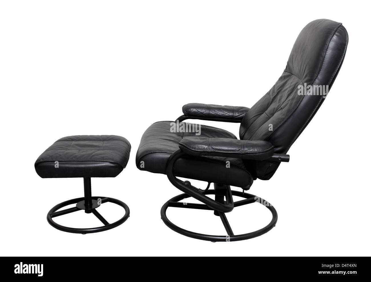 Recliner Chair with Footstool - Stock Image