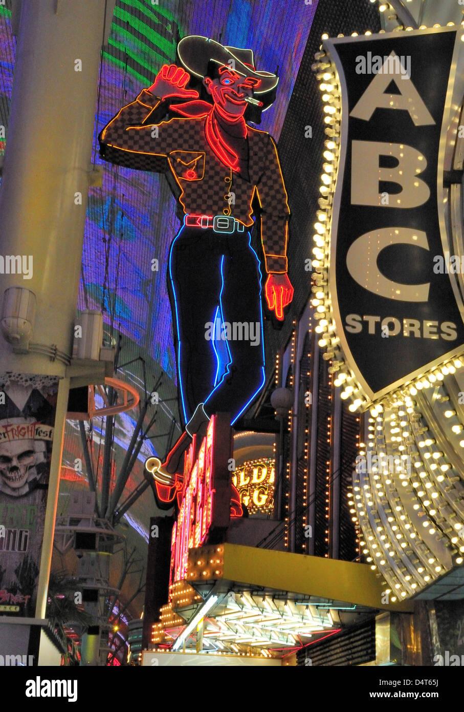 Vegas Vic, the smoking cowboy on Fremont Street, downtown Las Vegas - Stock Image