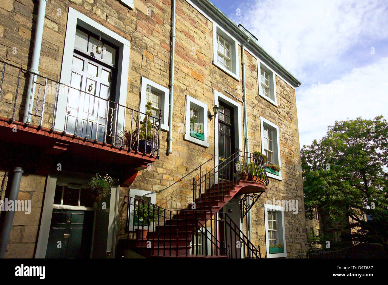 steps and landings of rear of apartments at ramsay gardens - Stock Image