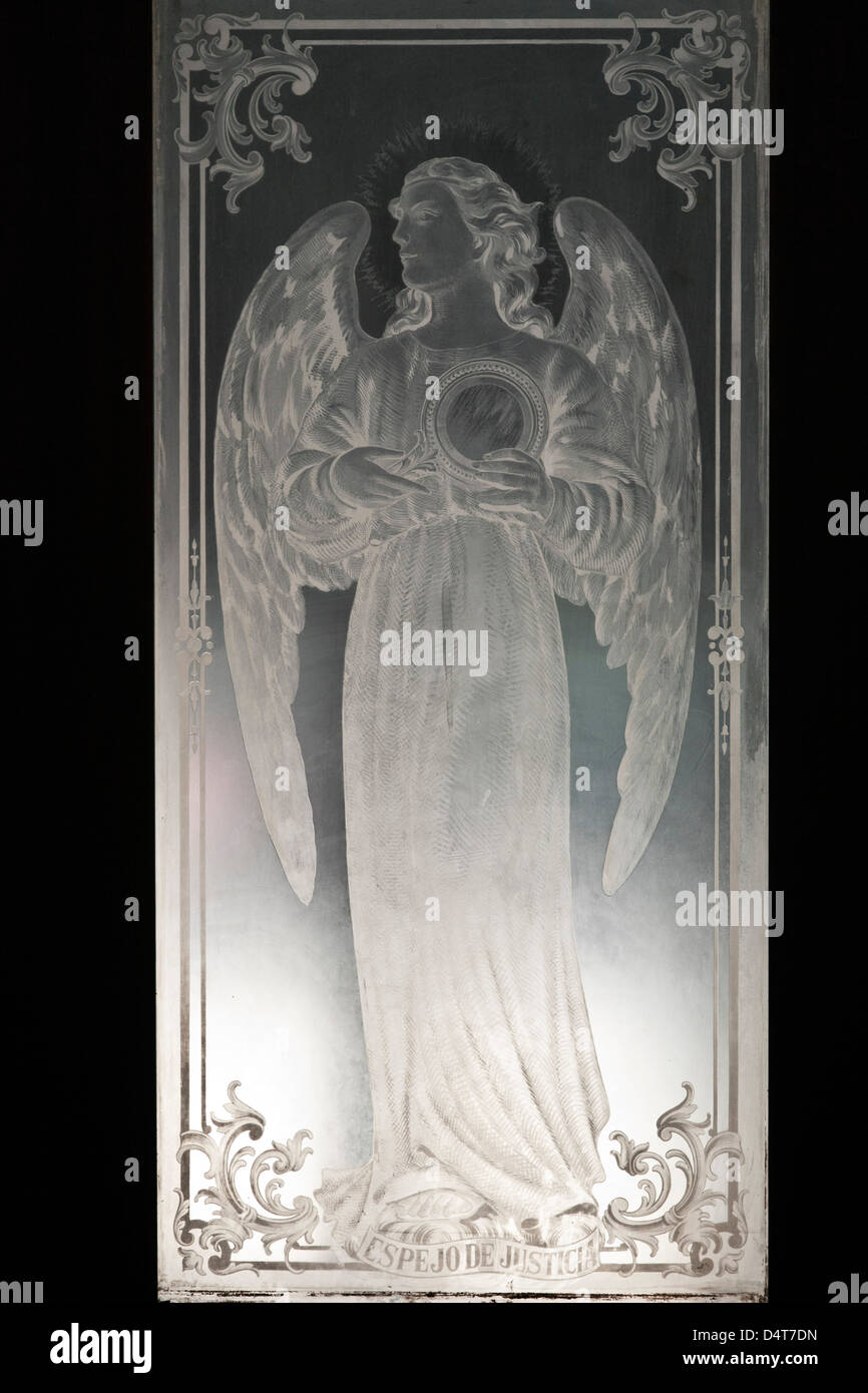 beautiful etched glass door panel of angel titled Mirror of Justice in  Cathedral of Our Lady - Etched Glass Door Stock Photos & Etched Glass Door Stock Images - Alamy