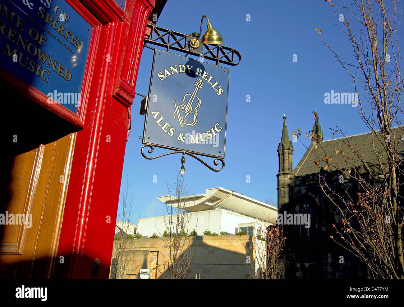 sandy bells pub sign forrest road - Stock Image