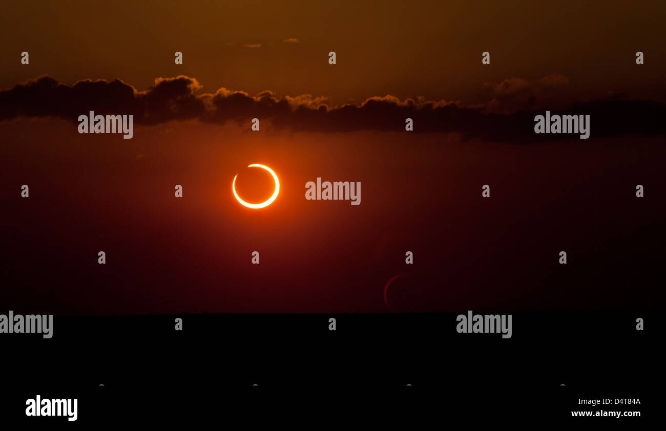 Annular solar eclipse of 2012. - Stock Image