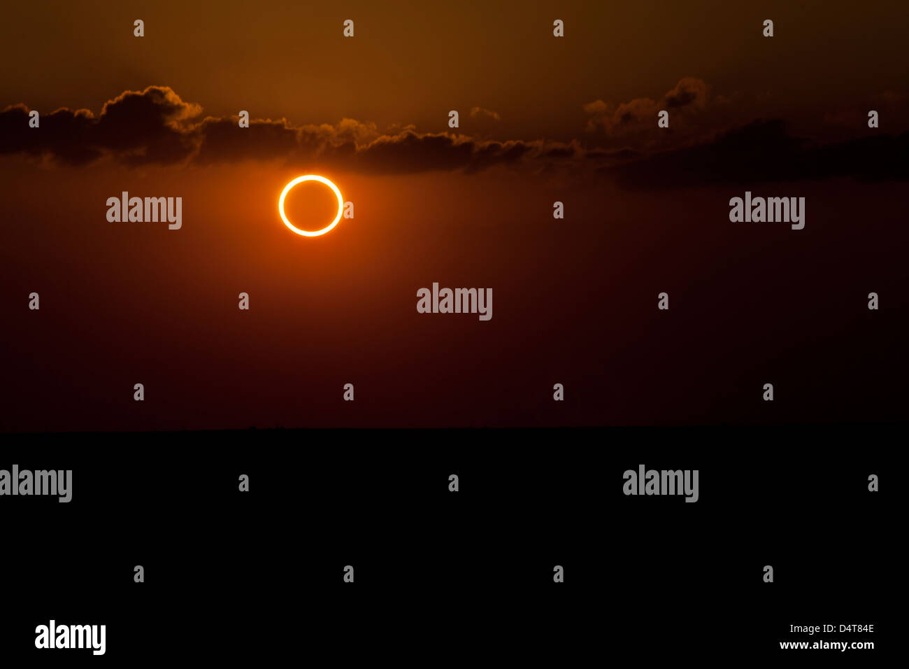 Totality during annular solar eclipse with ring of fire. - Stock Image