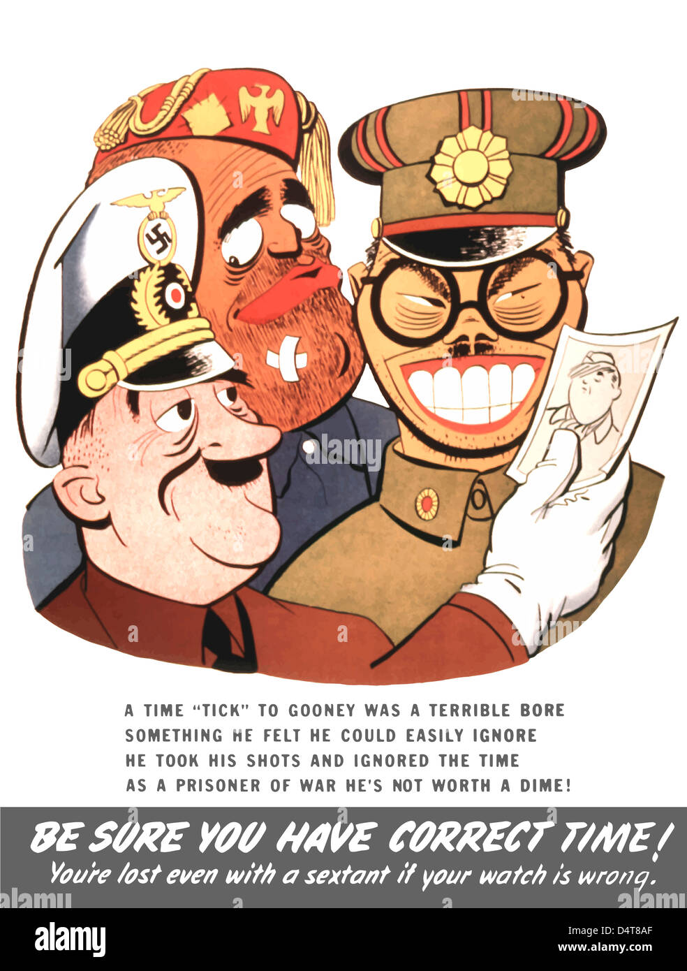 Vintage WW2 poster of caricatures of Benito Mussolini, Hideki Tojo, and Adolf Hitler. - Stock Image