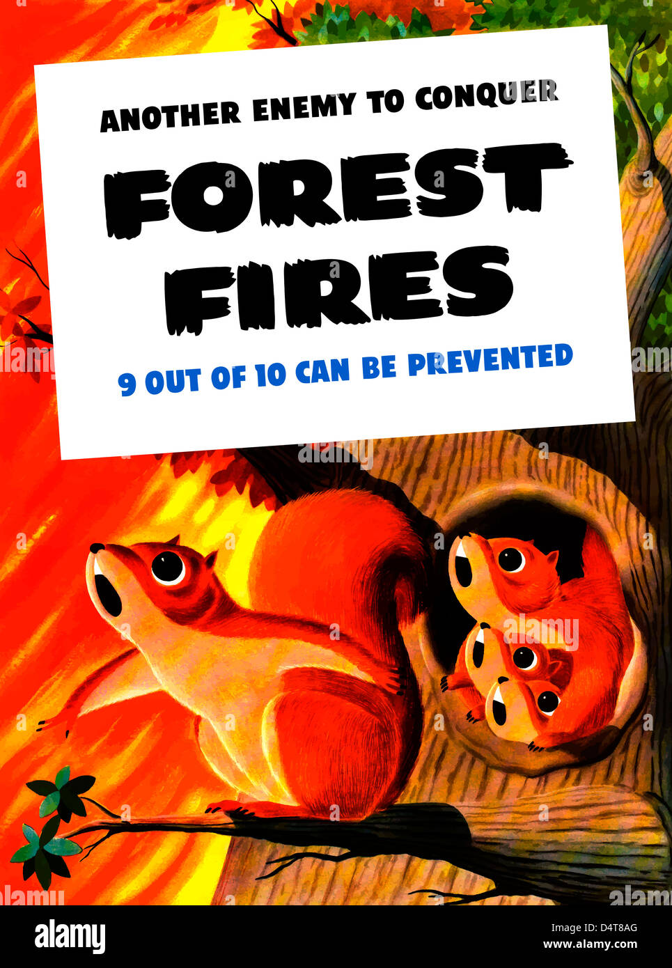 Vintage WW2 poster showing a family of squirrels surrounded by a forest fire. - Stock Image