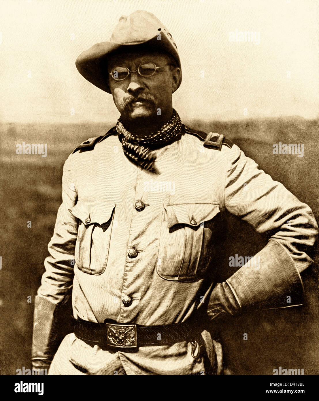 Vintage American history photo of Colonel Theodore Roosevelt wearing his military uniform during the Spanish-American - Stock Image