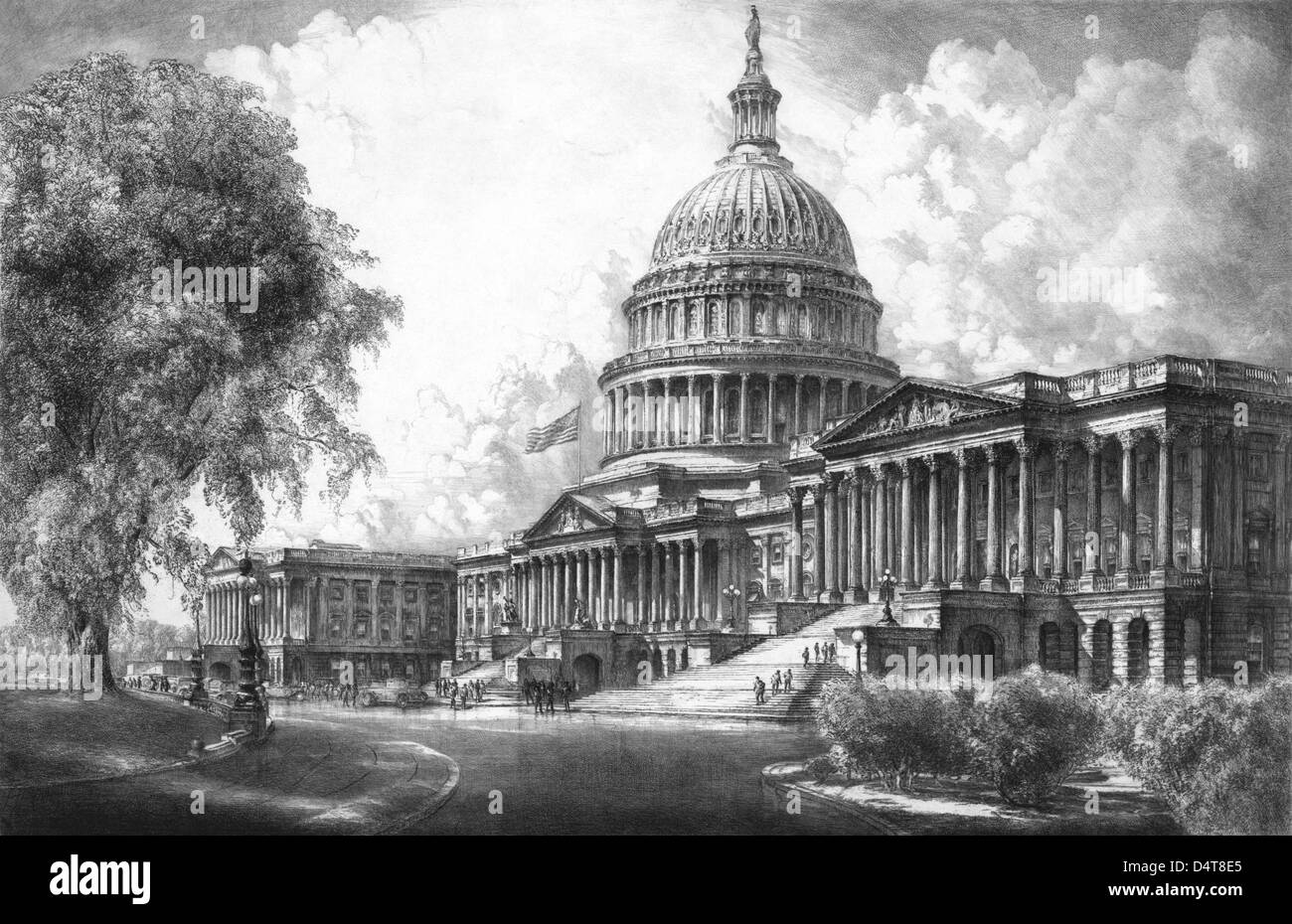 Digitally restored vintage black and white print of the U.S. Capitol Building. - Stock Image