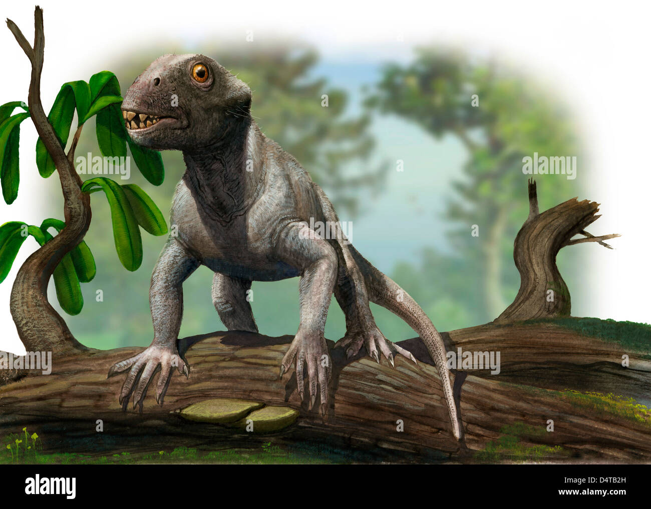 Illustration of a Suminia getmanovi in a prehistoric environment. - Stock Image