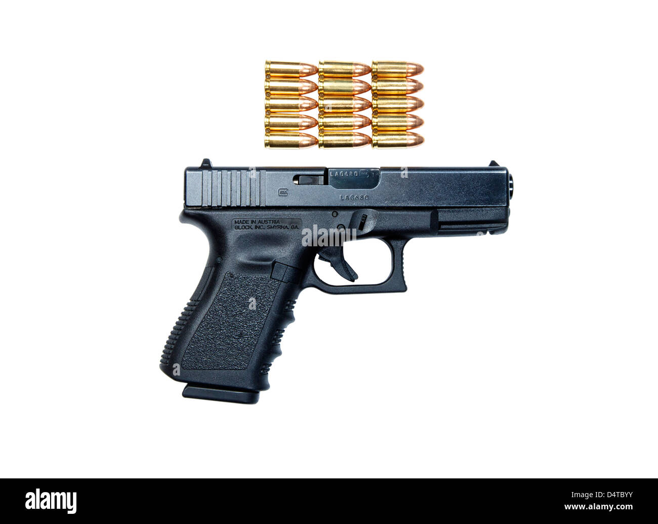 Glock Model 19 handgun with 9mm ammunition. - Stock Image