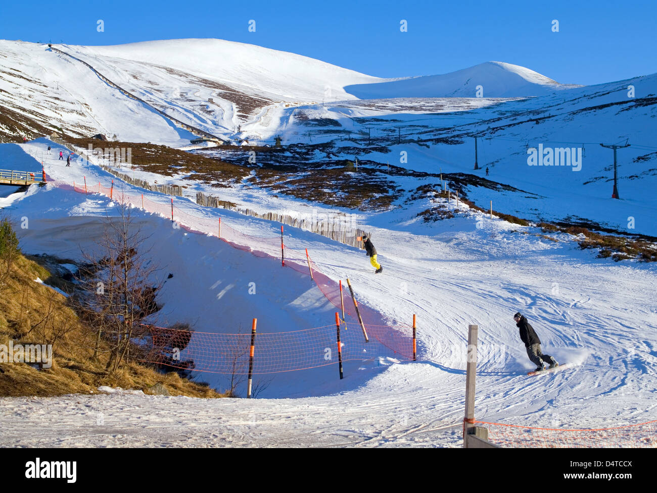 Snowboarders and skiers on Burnside ski run, Cairngorm Mountain Ski Centre, by Aviemore, Cairngorms National Park, - Stock Image