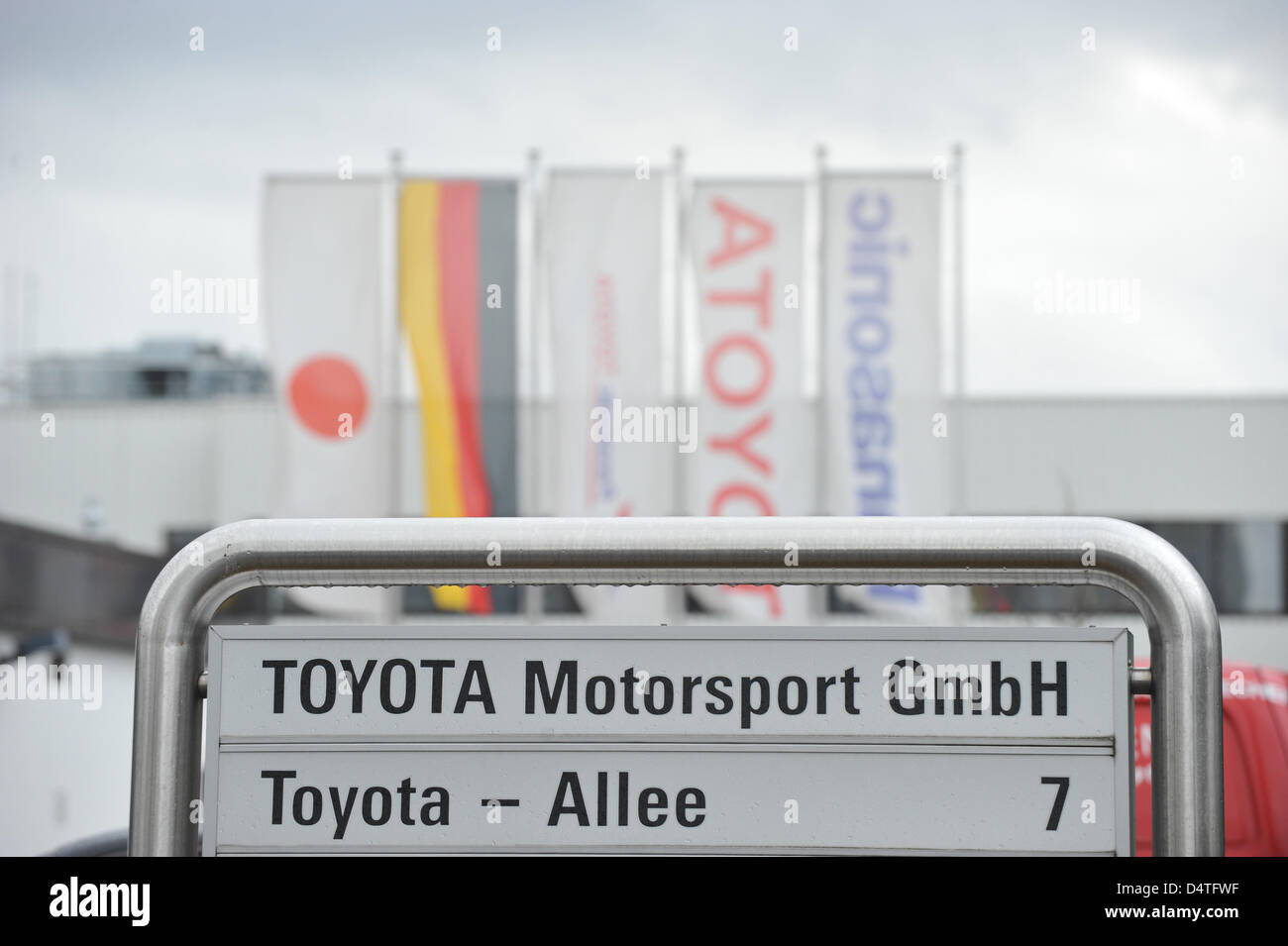 The picture shows the entrance of Toyota Motorsports, the German Formlua One headquarters, in Cologne-Marsdorf, - Stock Image