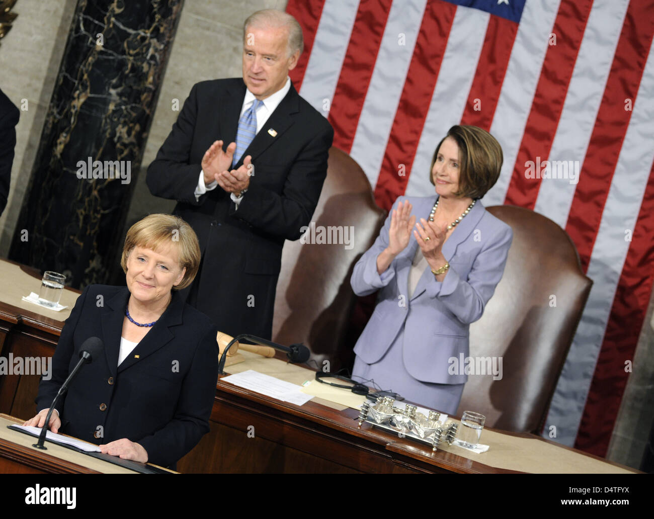 German Chancellor Angela Merkel receives standing ovations after her speech to the US congress in front of Nancy - Stock Image