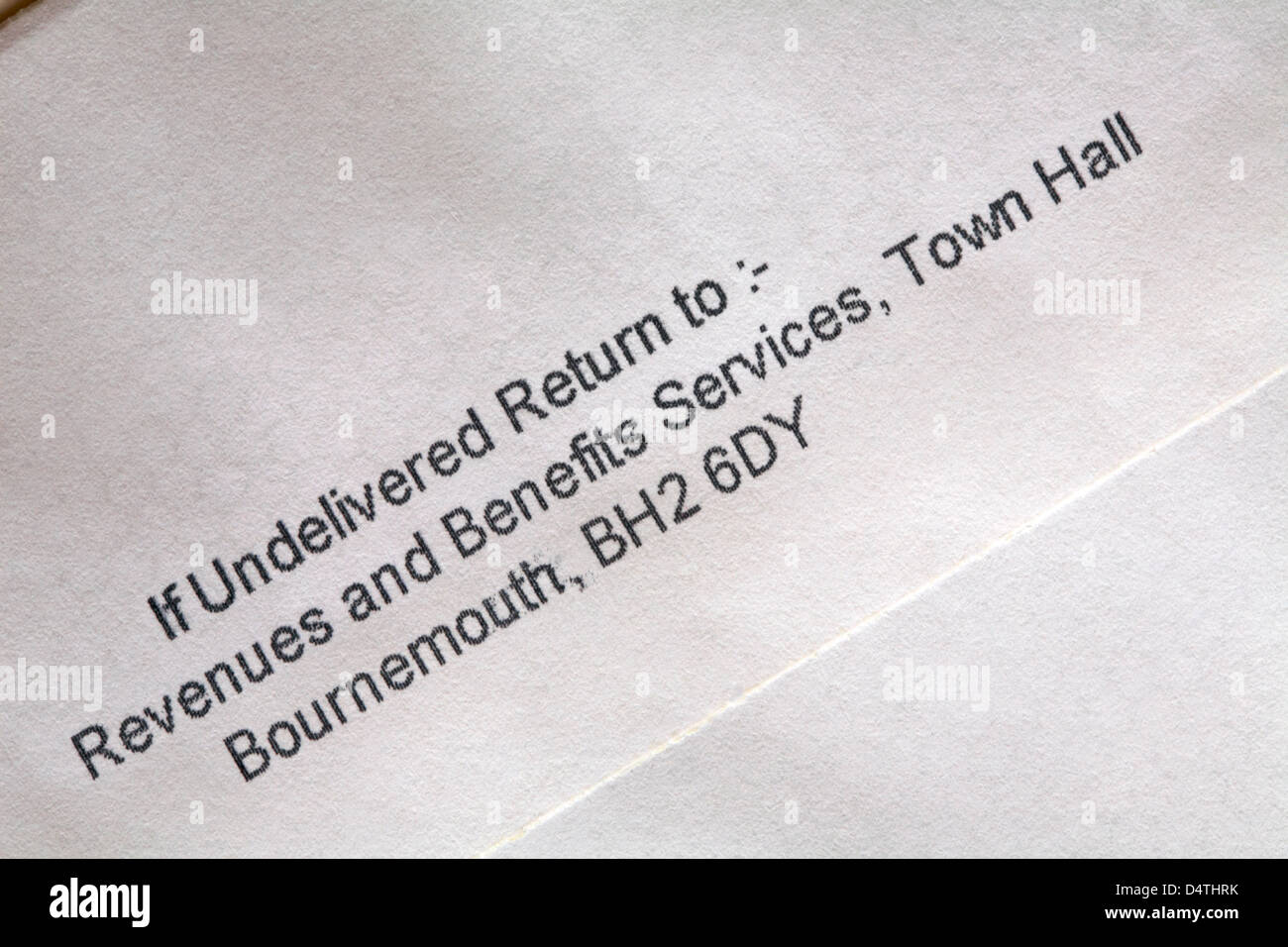 if undelivered return to Revenues and Benefits Services, Town Hall, Bournemouth - back of envelope sending out Council - Stock Image