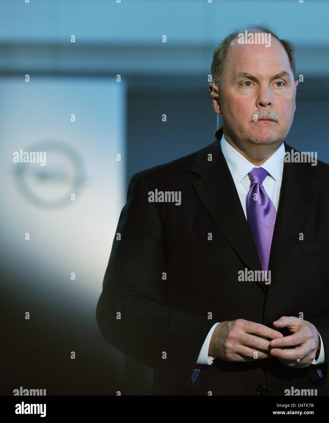 Chairman of General Motors (GM) Fritz Henderson gives an interview at the Opel factory in Ruesselsheim, Germany, - Stock Image
