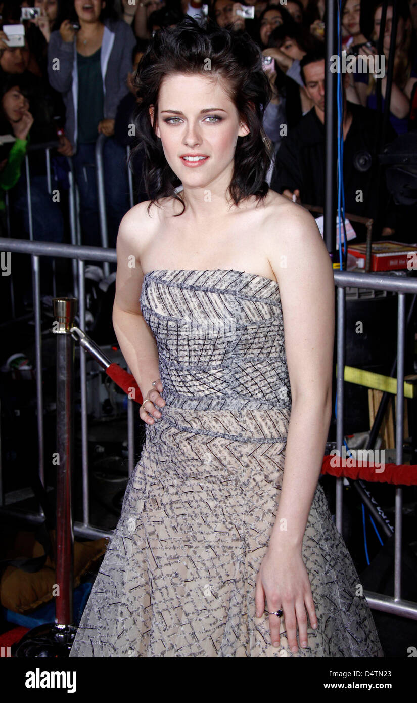 Actress Kristen Stewart arrives at the world premiere of the film 'Twilight: New Moon' at Bruin and Village - Stock Image