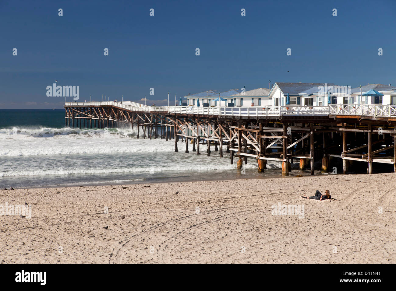 Pacific Beach and the Crystal Pier Hotel on Stilts over the ocean in San Diego, California, United States of America, - Stock Image