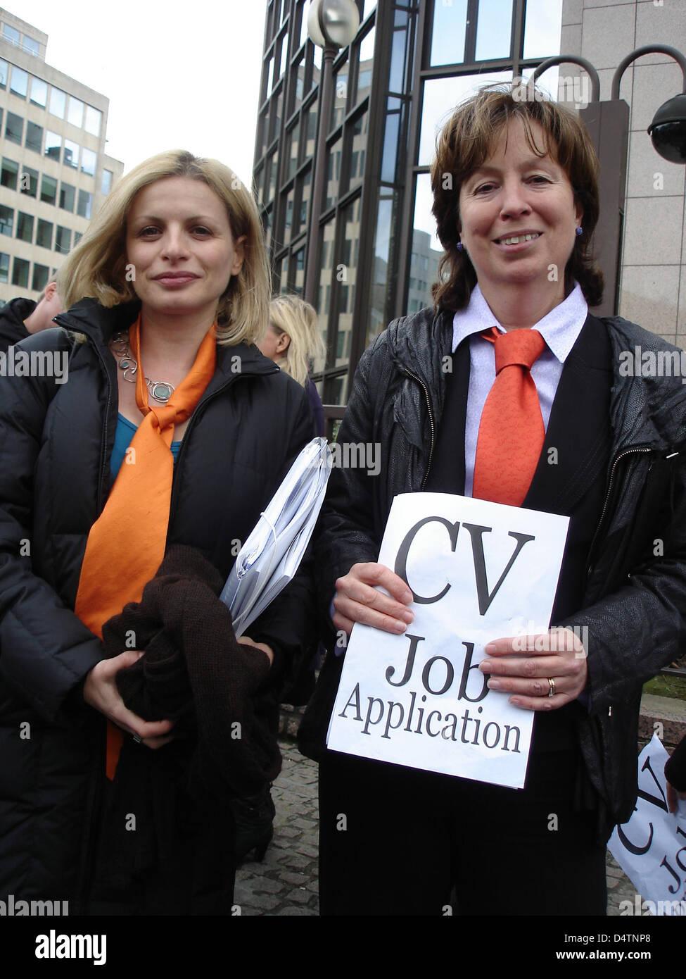 Secretary General of the European Women's Lobby Myria Vassiliadou (L) and British Member of the European Parliament Stock Photo