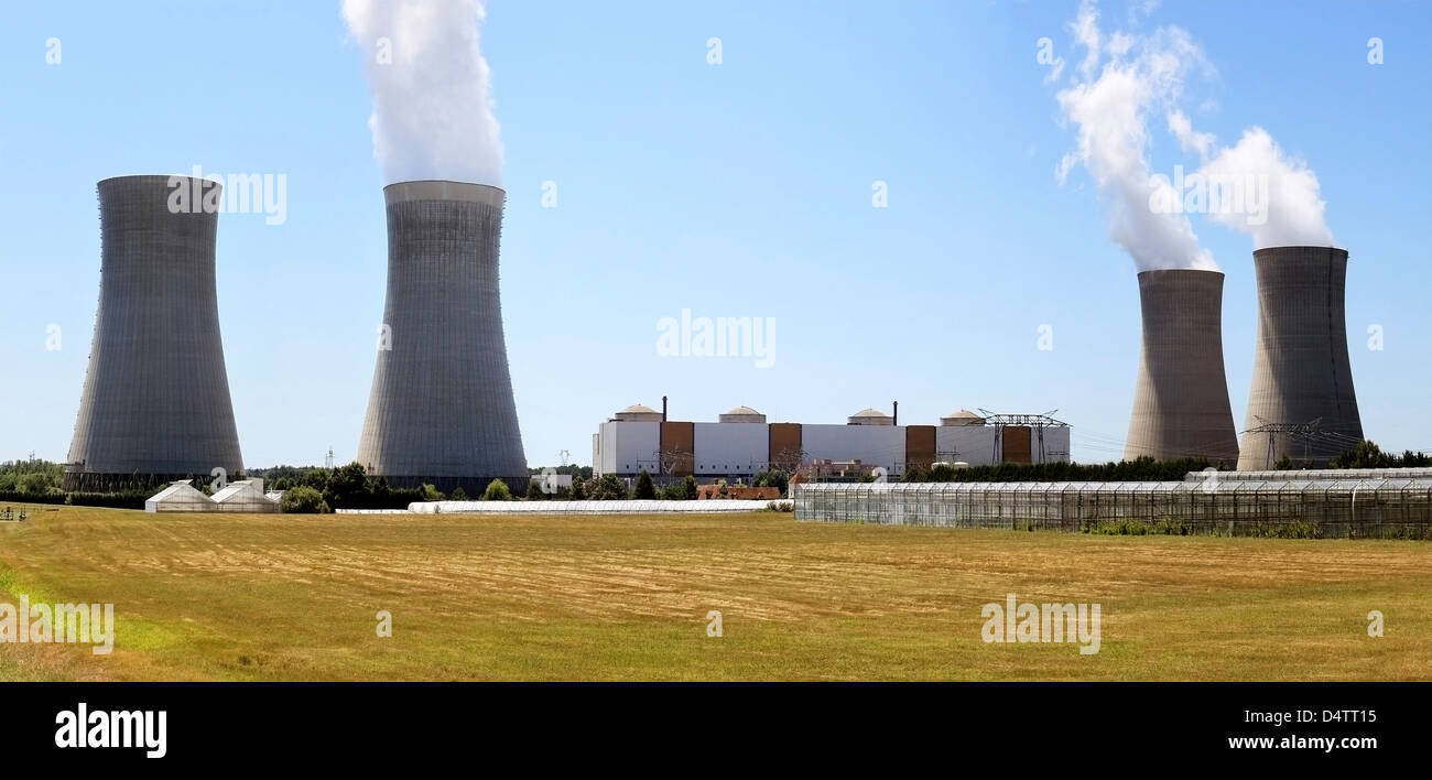 photo of a nuclear plant in operation and production of hot water for agriculture - Stock Image
