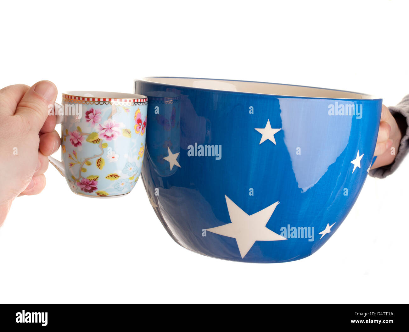 Two cups large and small cheers - Stock Image