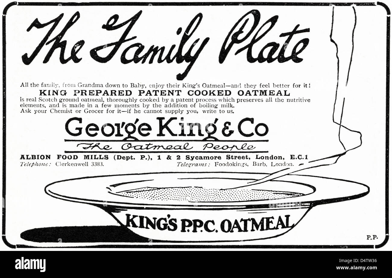 Original 1920s period vintage advertisement print from English magazine advertising George King oatmeal by Albion - Stock Image