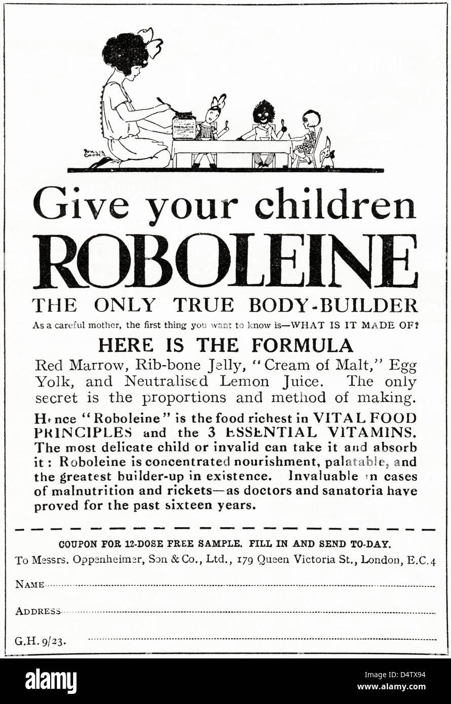 Original 1920s period vintage advertisement print from English magazine advertising ROBOLEINE health food for children - Stock Image