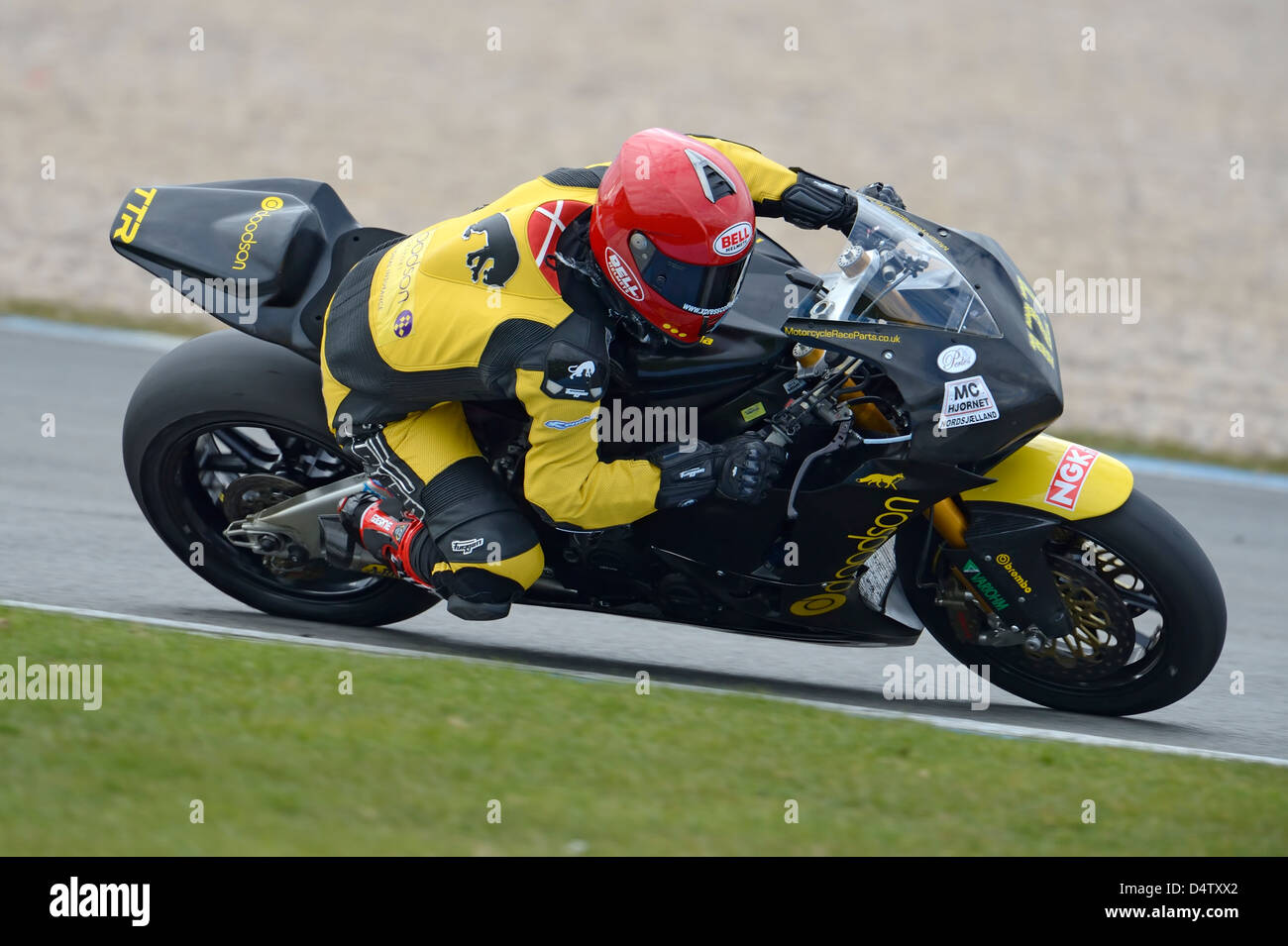 robbin harms on the honda, bsb 2013 - Stock Image