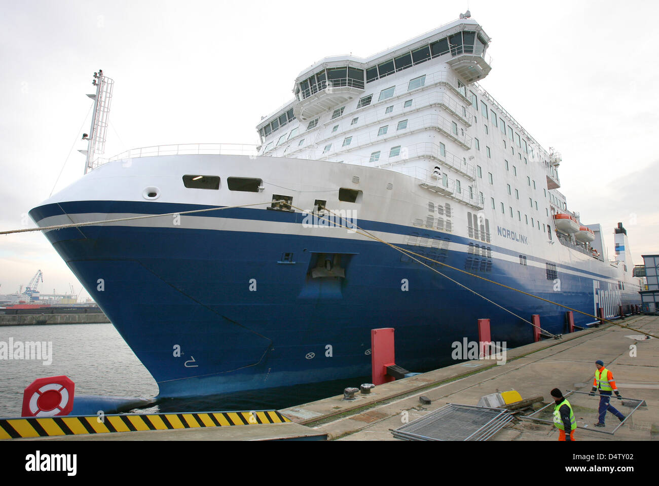 Ferry 'Nordlink' by Finnish shipowning company Finnlines is dispatched in the harbour of Rostock, Germany, - Stock Image
