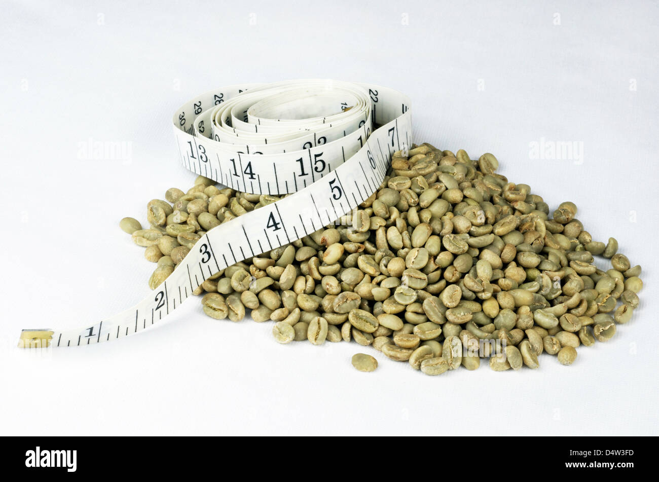 Green coffee beans in a pile with a white tape measure rolled up and set on top of the beans. - Stock Image