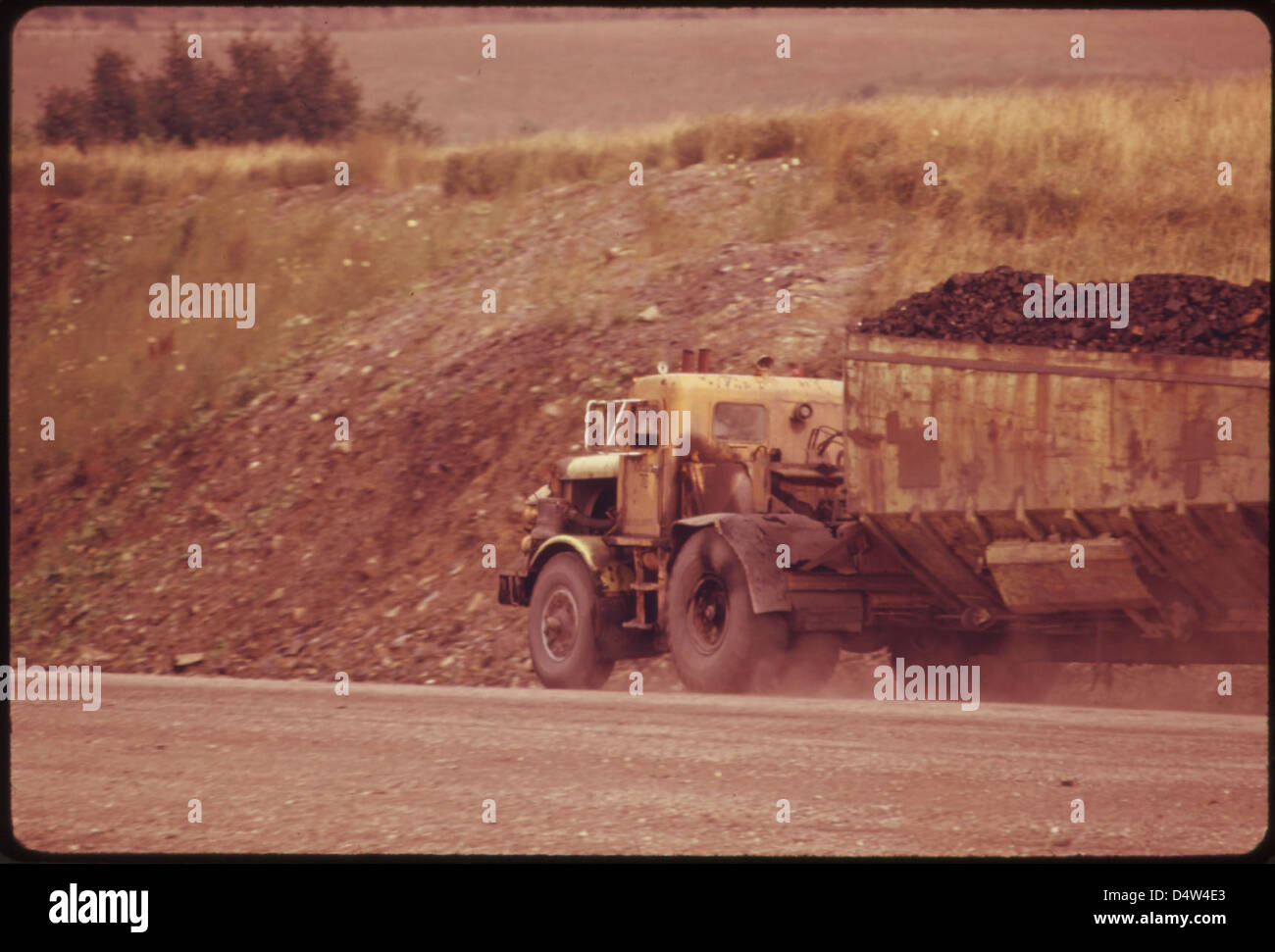 Coal Hauling Truck on Route #519. 07/1974 - Stock Image